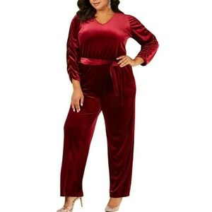 NY Collection 1XP Burgundy Belted Jumpsuit 5AL30